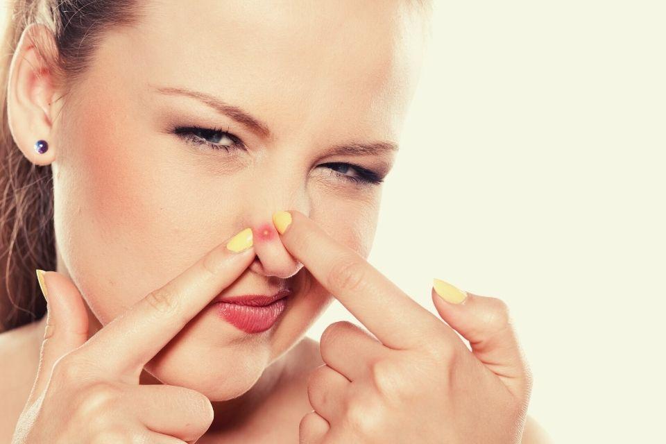 Blind pimple on nose